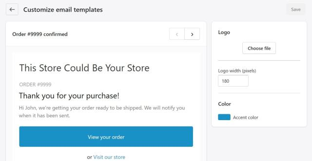 customize email alerts Shopify