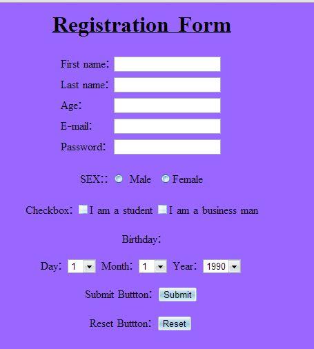 registation form