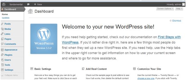 final wordpress instal