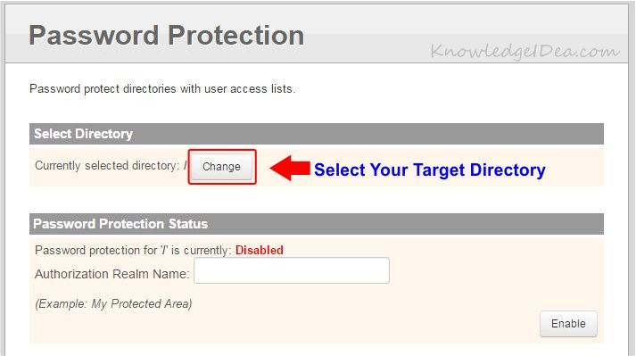 How to Enable Directory Password Protection in iPage step 3