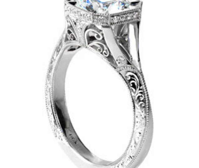 Stunning Split Shank Engagement Ring In Cincinnati Is An Antique Engagement Ring Design With Hand Engraving