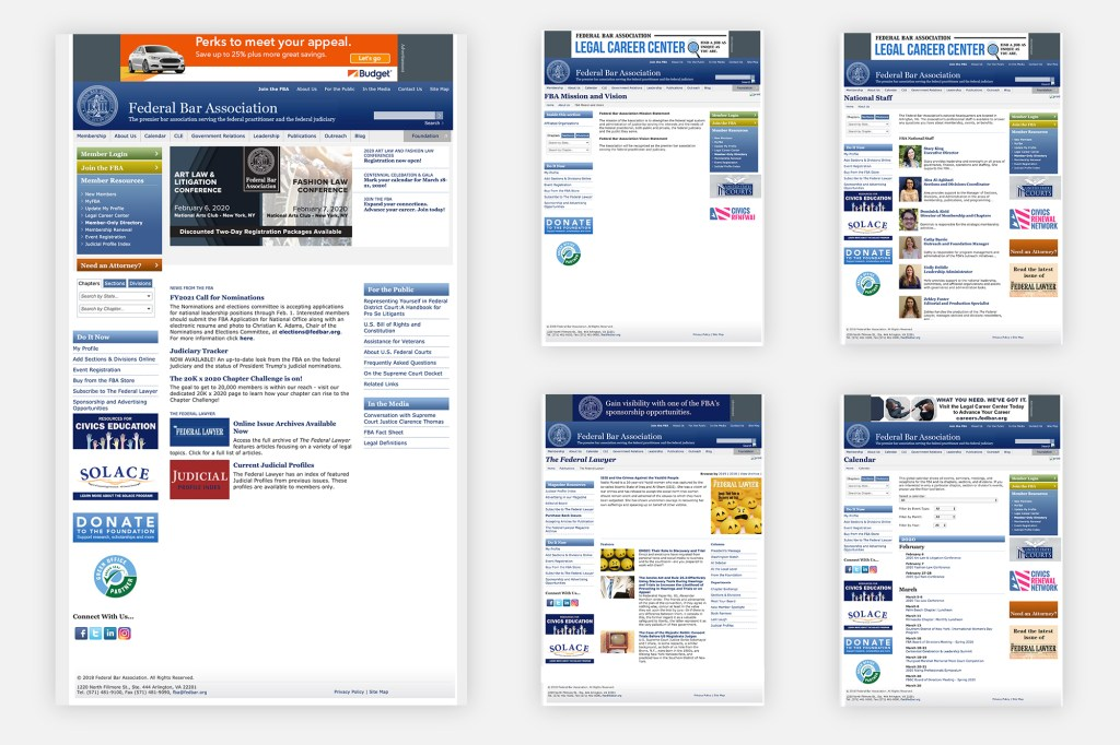 Federal Bar Association Website: Before Redesign