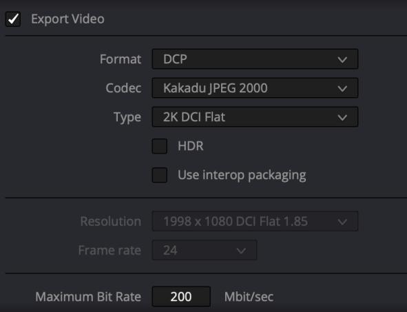 Export video Choose Format DCP.  Codec Kakadu JPEG 2000.