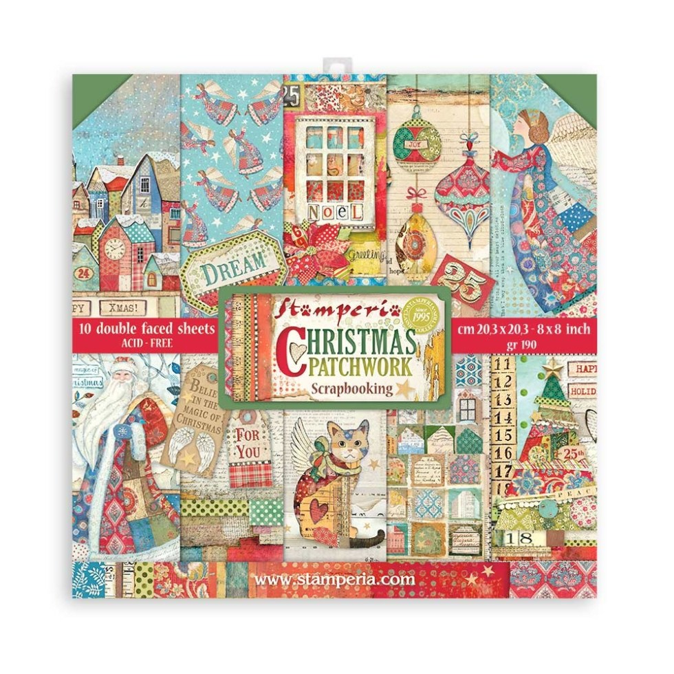 Stamperia Christmas Patchwork 8×8 Inch Paper Pack