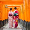 Geisha at Tori Gate Fushimi Inari Kyoto Japan