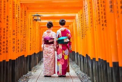 Geisha at Tori Gate Fushimi Inari Kyoto Japan