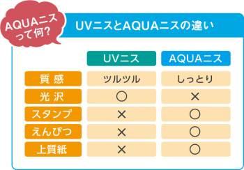 ニスの種類の解説。UVニスと水性のAQUAニスがあります。