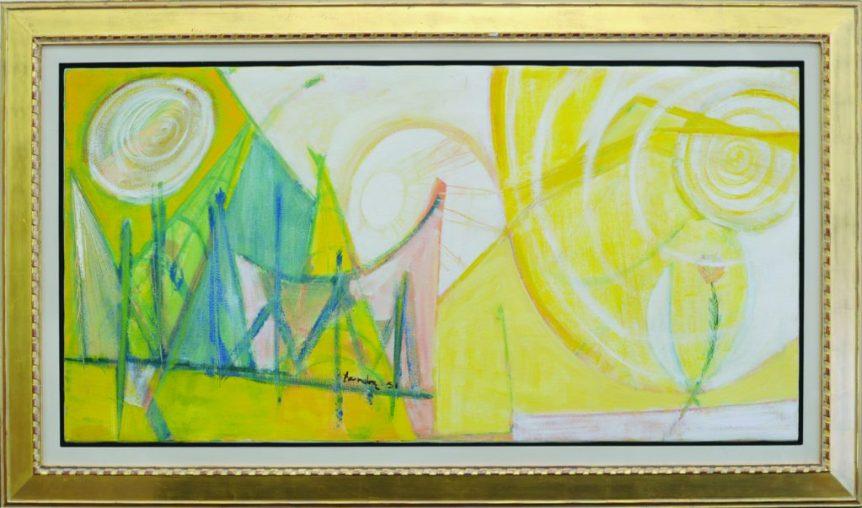 "Takao Tanabe ""Mountain Landscape, 1951"" 26.5"" x 53"" image 37"" x 62"" framed"
