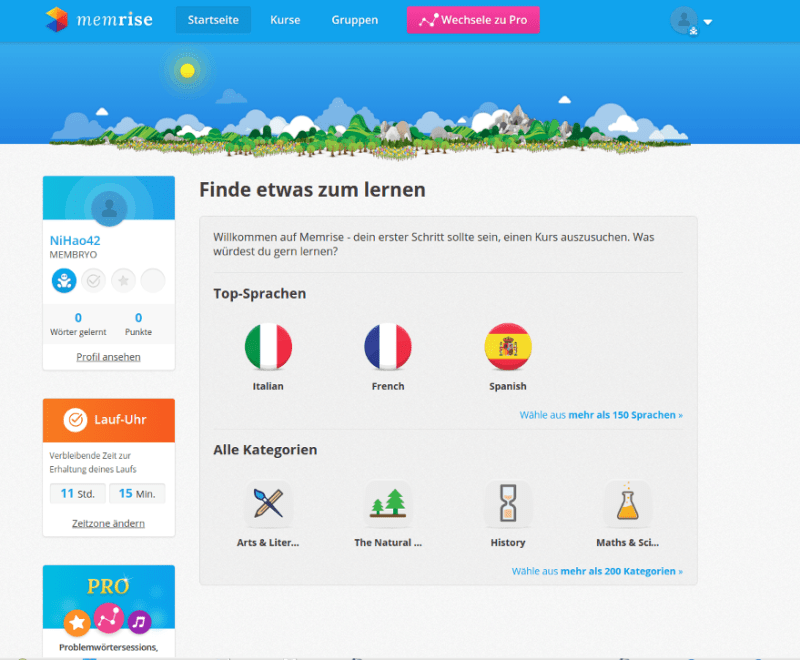 Memrise home page.