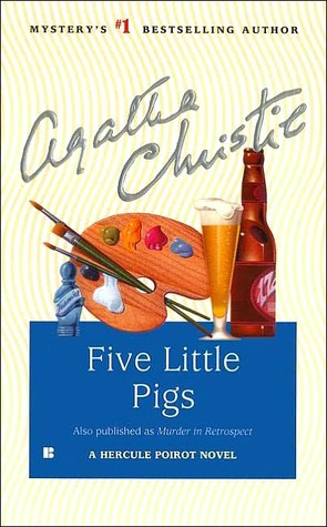 "A cover of Agatha Christie's ""Five Little Pigs"" featuring a small blue bottle, an artist's palette, and a glass of beer next to a brown beer bottle."