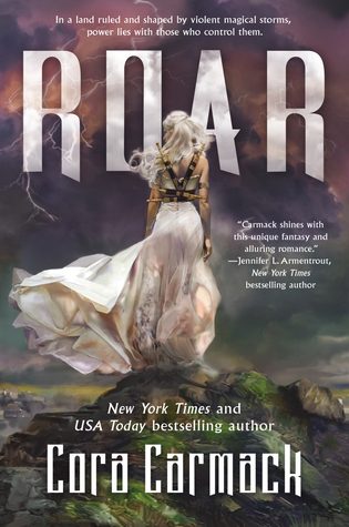 "The cover of Cora Carmack's ""Roar."" A Caucasian woman with bright white hair, a white dress, and knives strapped to her back stands on a small, rocky hillock with her back to the viewer, facing a stormy purple sky."