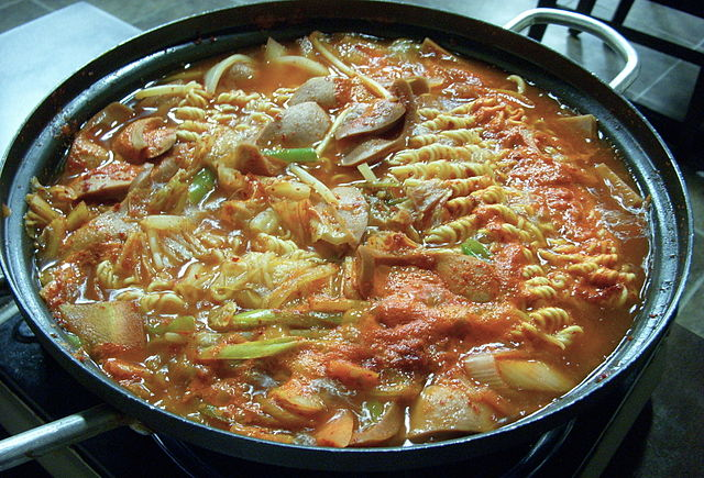 A bowl of budae jjigae.