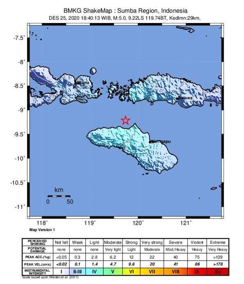 Gempa Bumi M 5,3 Guncang Sumba
