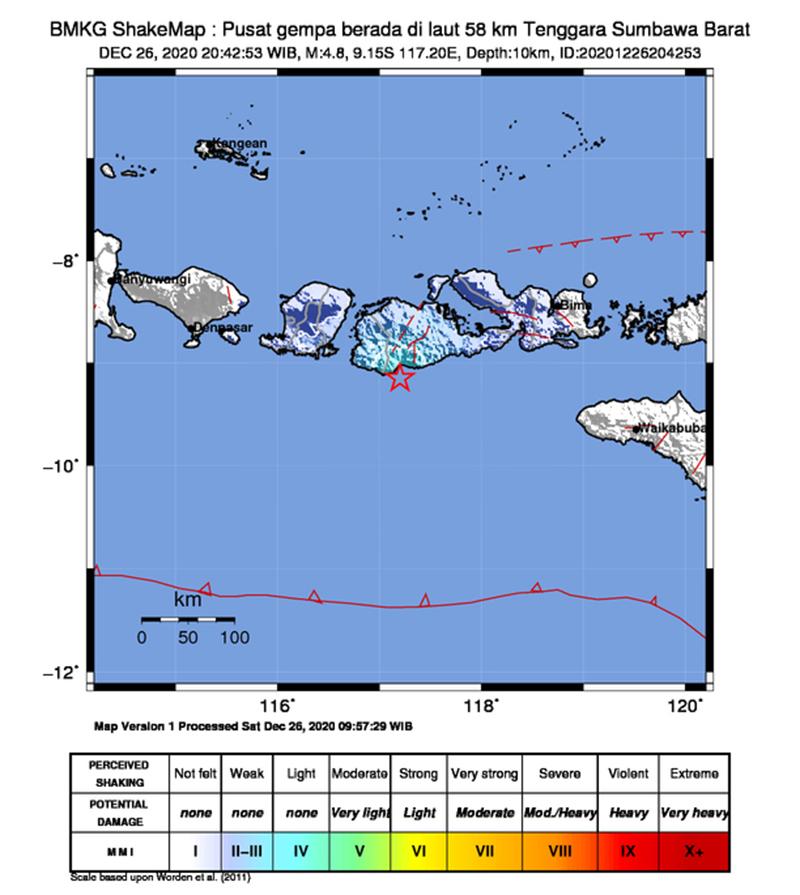 2 Hari Berturut-turut, Sumbawa Barat Diguncang Gempa Bumi M 4,6 dan M 4,8