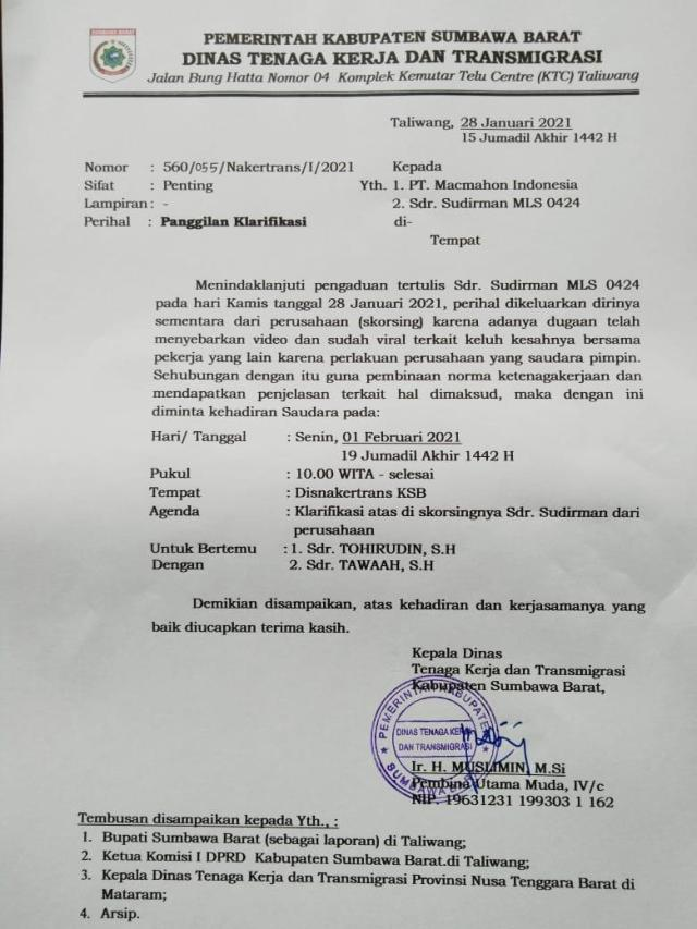 Surat Klarifikasih Disnakertrans Sumbawa Barat