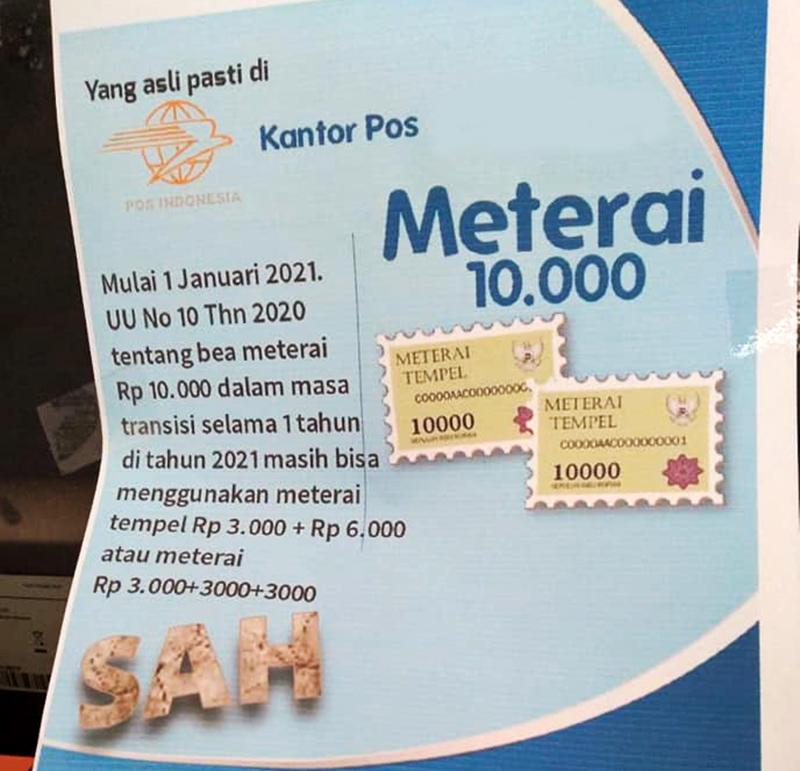 Bea Meterai Satu Tarif Rp 10.000 Telah Berlaku