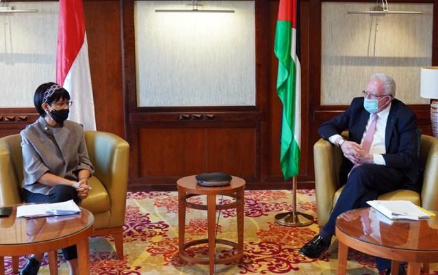 Menlu RI Bersama Menlu Palestina