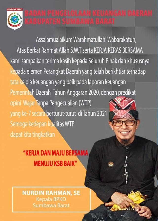 Iklan WTP Kepala BPKD KSB