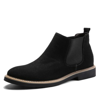 Men Fashion leather boots Slip top High shoe
