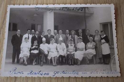 Slavko Batis with colleagues at the exhibition of confectionery and catering. Photo: the archive of the Batis family.
