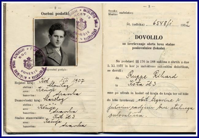 Krošnjarjeva izkaznica iz leta 1932. Objavljeno na: www.gottscheer-gedenkstaette.at.