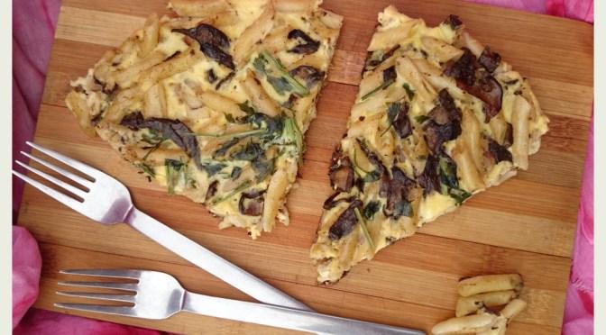 Pasta Frittata mit Pilzen