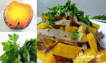 Rindfleischsalat mit gelber Bete und Maronen