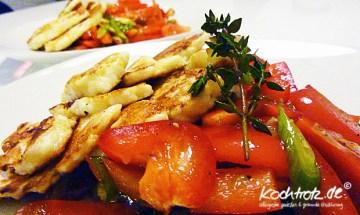 gebratene Paprika mit Haloumni