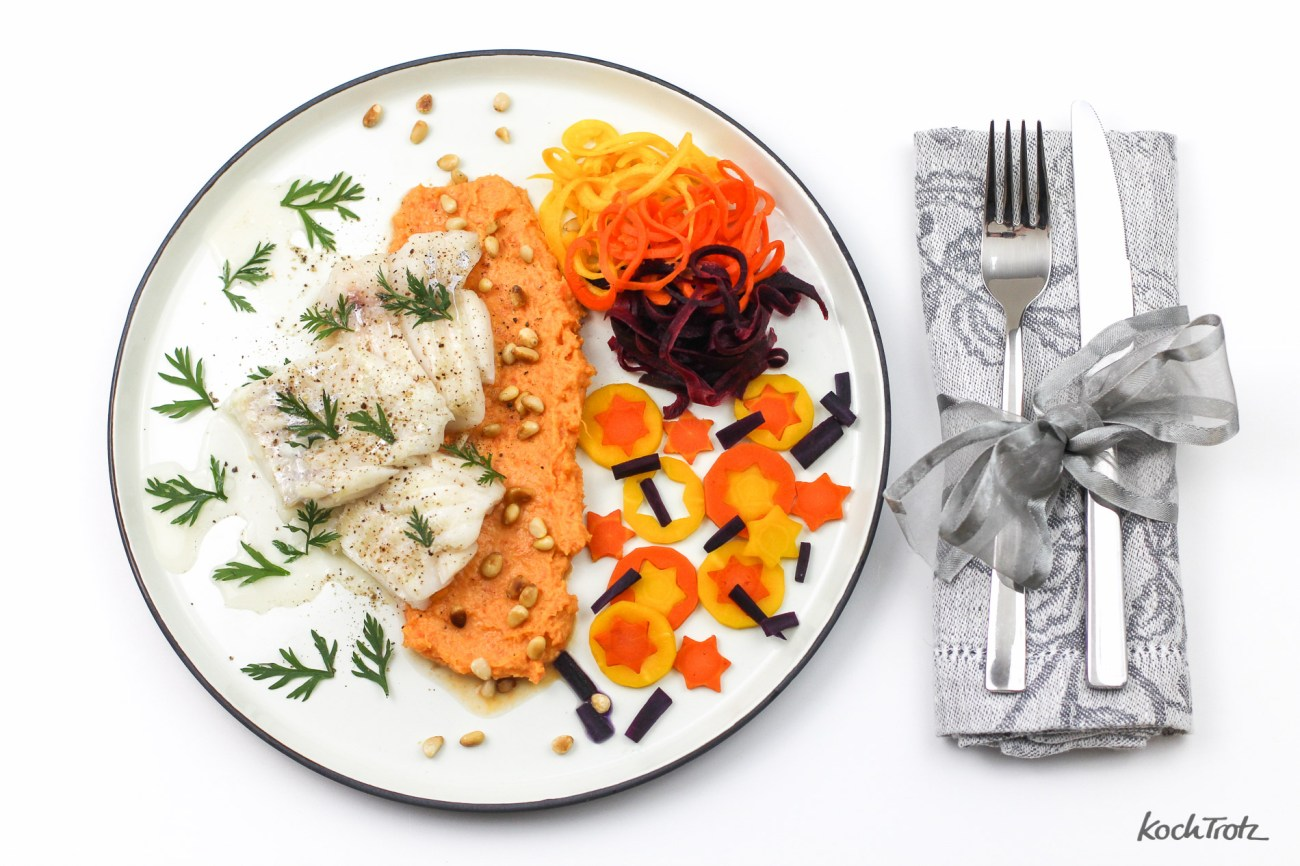 In Rapsöl confierter Kabeljau mit Karotten-Variationen