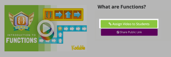 Assign coding videos to students by clicking the assignment button next to the video.