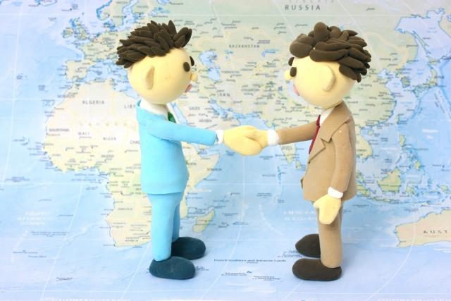 ビジネスマン握手地図ベース
