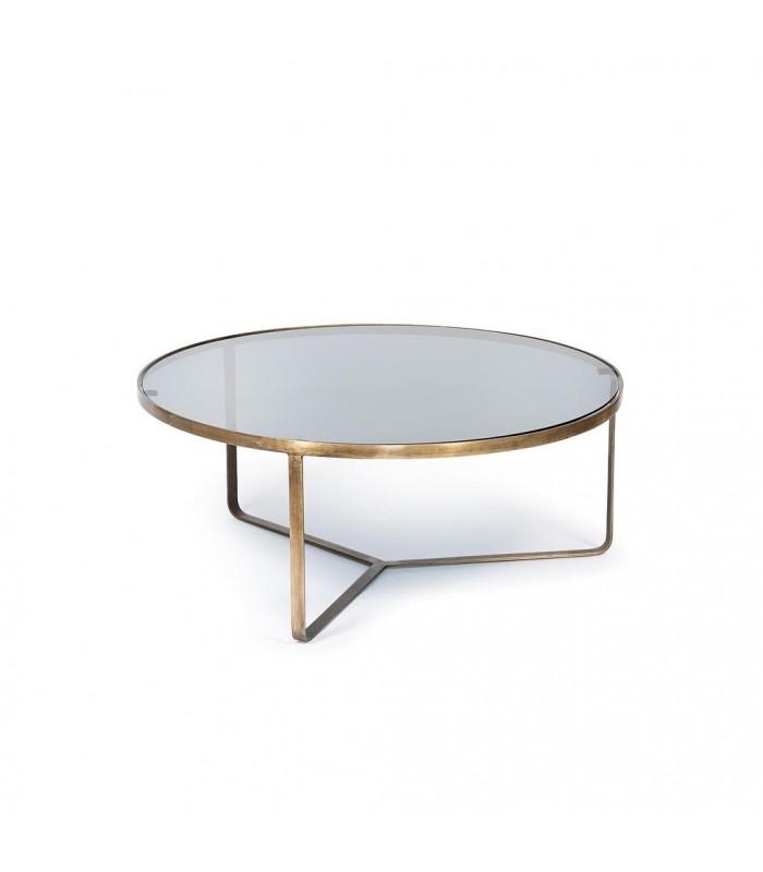 table basse en laiton et verre