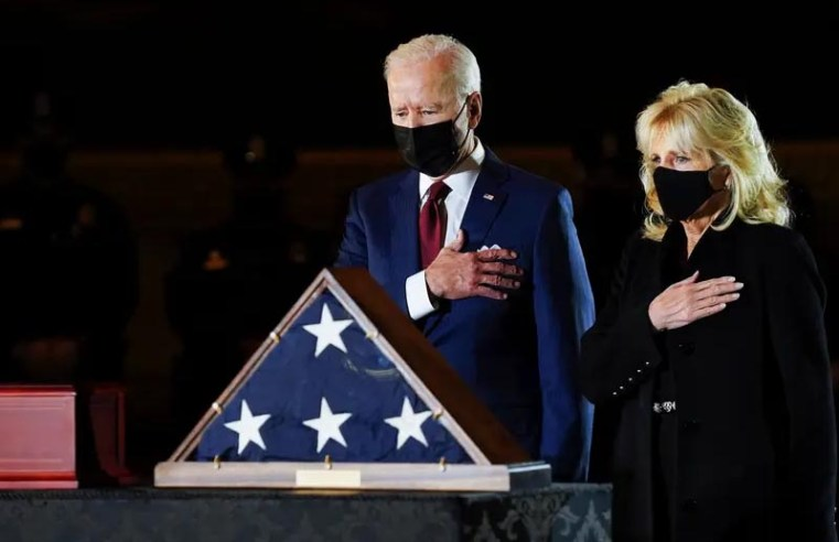 Biden pays respects to Capitol officer as he lay in honor