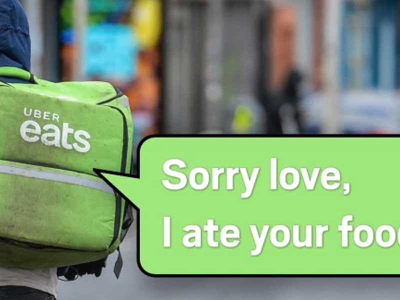Uber Eats delivery driver texts student to say 'sorry love, ate your food'