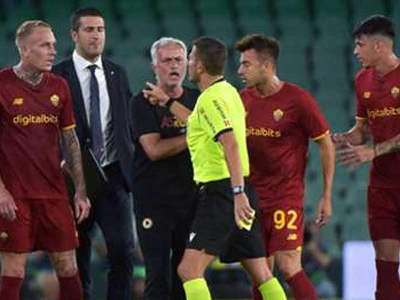 Jose Mourinho sent off as Roma finish with eight players in Real Betis defeat