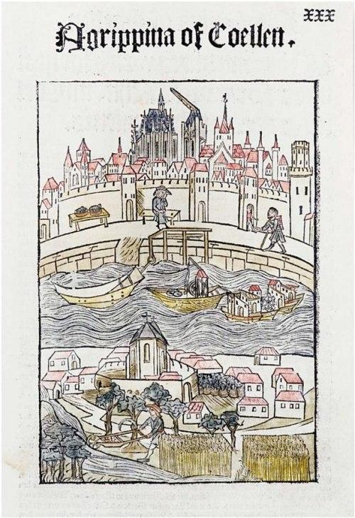 """Ansicht von """"Agrippina oder Köln"""", gedruckt 1499 durch Johann Koelhoff d. J."""