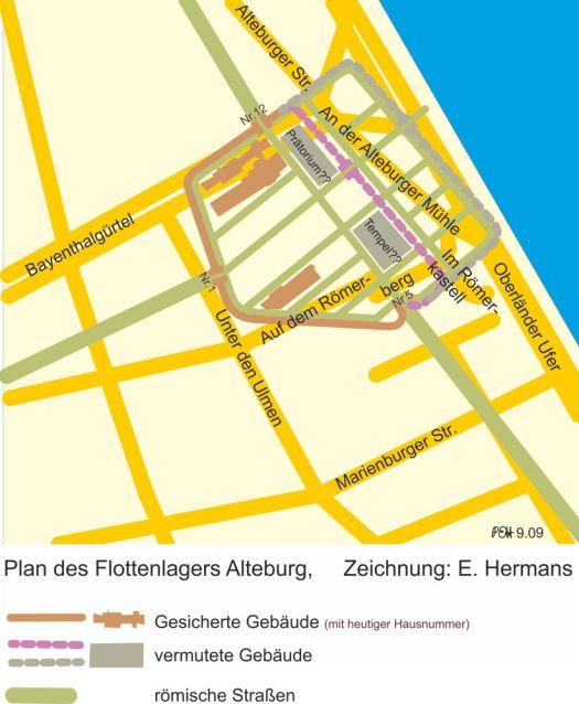 Plan des Flottenlagers Alteburg, Zeichnung: Erich Hermans