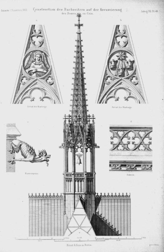 Ansicht des Vierungsturms mit Details, ca. 1860