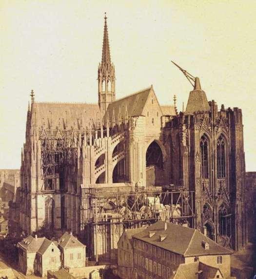 Der Dom im Jahr 1865 vor der Vollendung der Domtürme mit freier Sicht auf den Vierungsturm