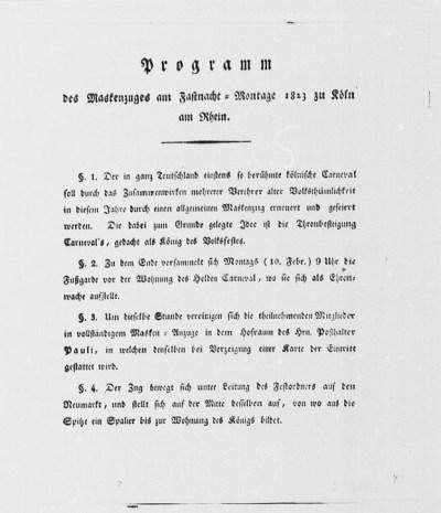 Auszug aus dem Programm des ersten Kölner Rosenmontagszuges vom 10. Februar 1823