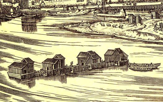 """Die Kölner Rheinmühlen, Ausschnitt aus """"Große Ansicht von Köln 1531"""" von Anton Woensam"""