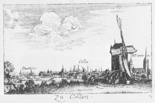Die Bottmühle, Kupferstich von 1635, Bild: Rheinisches Bildarchiv Köln