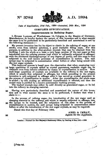 """Englische Patentschrift """"Improvements of Refining Sugar"""" vom 24. März 1894"""