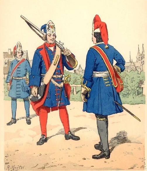 """Die blaue Uniform der protestantischen Preußen hat zum Begriff """"Blauköpp"""" geführt, Bild: Knötel (1883)"""