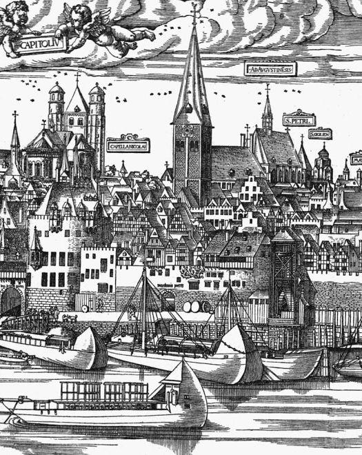 """Der Schiffstyp """"Oberländer"""", perfekt geeignet für Fahrten durch das Mittelrheintal, Bild: Ausschnitt aus der Stadtansicht von Anton Woensam, 1531"""