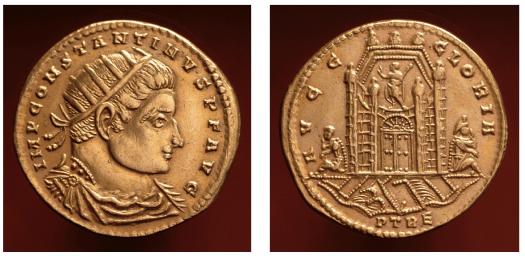 Goldmünze, geprägt um 315 n. Chr. in Trier. Deutlich zu erkennen ist das Kastell Divitia, seitlich des Kastells sitzen ein besiegter Franke und Alemanne. Von der Konstantinbrücke sind zwei Bögen zu sehen, Bild: Radnoti-Alföldi 1991
