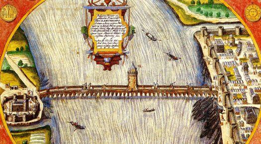 Darstellung der Konstantinbrcke aus dem Jahr 1608 mit viel künstlerischer Freiheit, so gab es z.B. keinen Turm in der Brückenmitte
