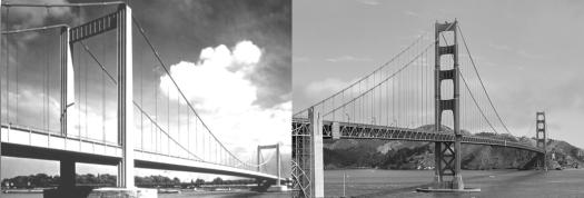 Kleine und große Schwester: Links die Rodenkirchener Brücke vor der Verbreiterung 1994, rechts die Golden Gate Bridge, Bild: Frank Schulenburg / CC BY-SA 4.0 (im Original nicht schwarz-weiß)