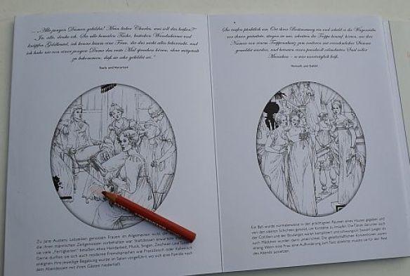 Jane Austen AUsmalbuch Einzelszenen Medaillons