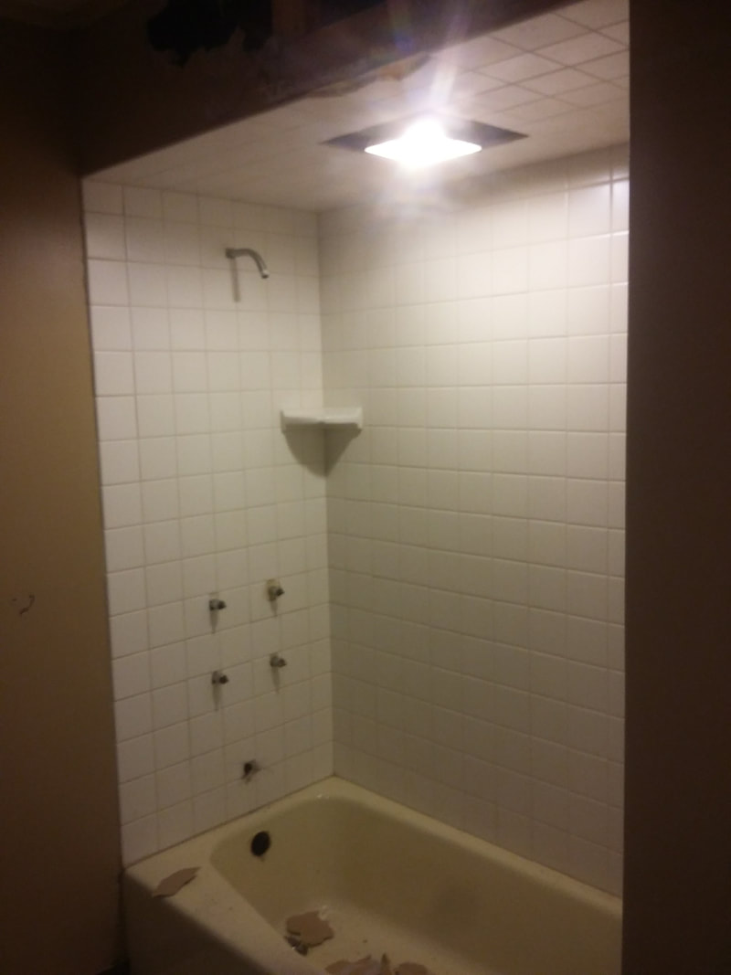tub shower upgrade with large format